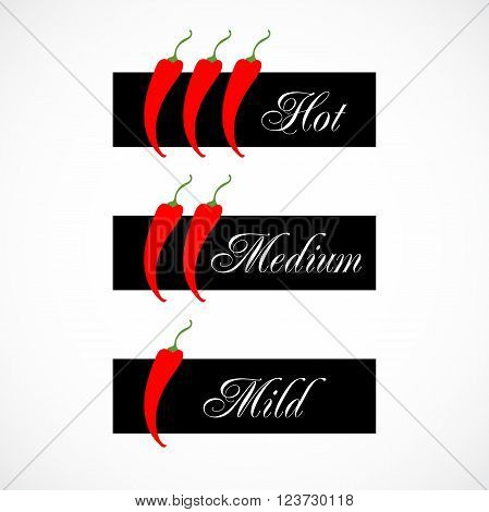 Scale three pepper chilli vector illustration isolated on background