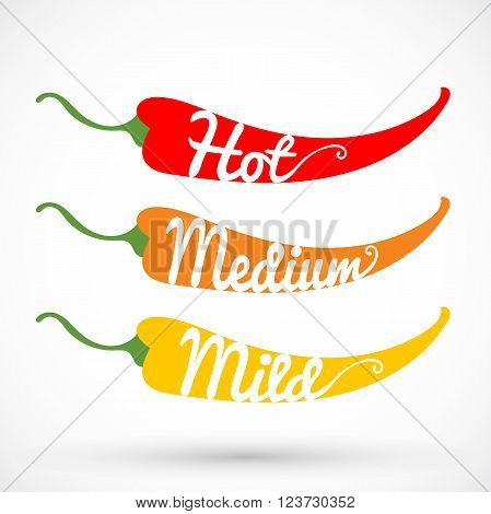 Rating three pepper chilli vector illustration isolated on background