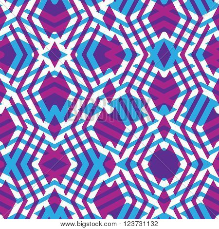 Geometric messy lined seamless pattern colorful maze vector endless background. Decorative net splicing motif texture. Purple decorative backdrop.