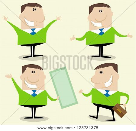 Vector illustration of funny businessman counselor character