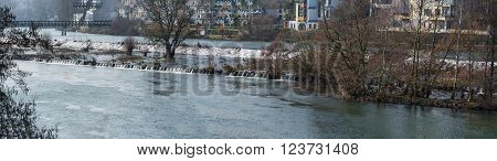 Panoramic flooded area near the water station in Muelheim an der Ruhr in Germany.