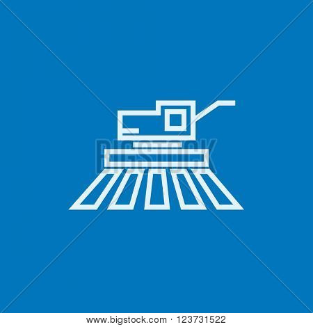 Combine harvester line icon.