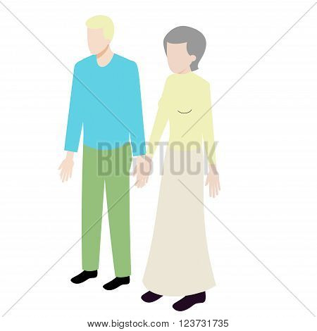 Isometric couple of old woman and young man standing holding hands