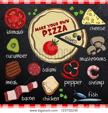pizza image and various ingredients for cooking on a black background