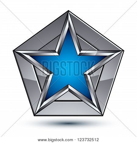 Silvery Blazon With Pentagonal Blue Star, Can Be Used In Web And Graphic Design, Clear Eps 8 Vector.