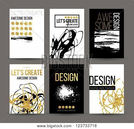A set of brochures with golden hand-drawn design elements. Vector brochure templates, posters, flyers, brand. Golden, black, white backgrounds, patterns, textures and elements. Vector illustration EPS10