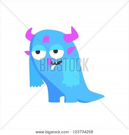 Blue Childish Monster With Hornsr Flat Cartoon Style Isolated Vector Design Print On White Background