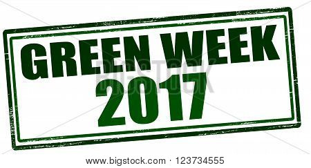 Rubber stamp with text green week two thousand seventeen inside vector illustration