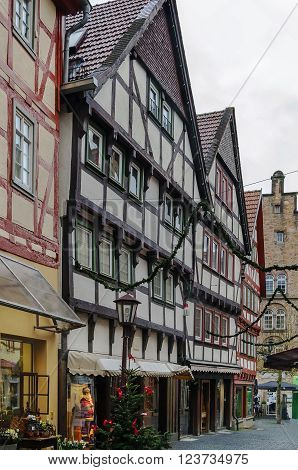 street in Alsfeld with half-timbered houses Germany