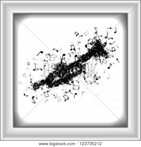 Trumpet Made From Different Music Notes