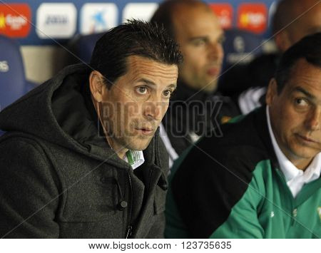 BARCELONA - MARCH, 3: Juan Merino of Real Betis during a Spanish League match against RCD Espanyol at the Power8 stadium on March 3, 2016 in Barcelona, Spain