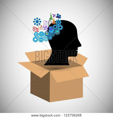 concept of Think outside the box also represents the Illustration of Creative Idea brain intelligence and having an open mind for innovation and solutions also Illustrates creativity and inspiration idea and imagination innovation and discovery think outs