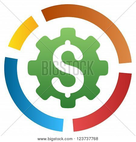Configure Financial Diagram vector toolbar icon for software design. Style is a gradient icon symbol on a white background.