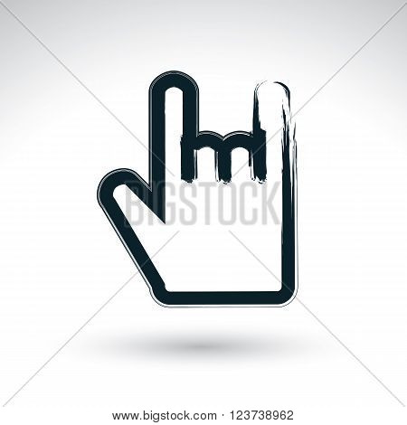 Vector icon hand-painted rocker symbol isolated on white background. Rock on hand gesture created with real hand drawn ink brush scanned and vectorized.