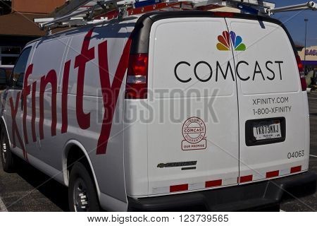 Indianapolis - Circa March 2016: Comcast Service Vehicle. Comcast is a Multinational Mass Media Company III