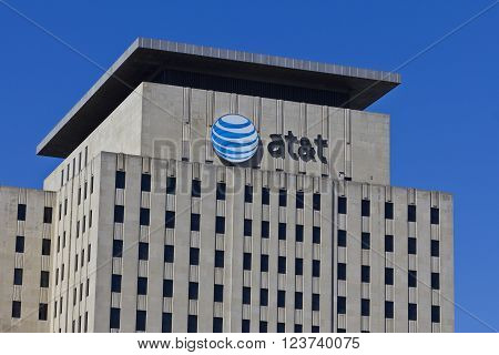 Indianapolis - Circa March 2016: AT&T Indiana Headquarters. AT&T Inc. is an American Telecommunications Corporation VI