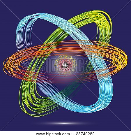 Illustration atom and the electrons in ethnic style  Illustration of the original styling of the atom and the electrons in ethnic style bright on a blue background