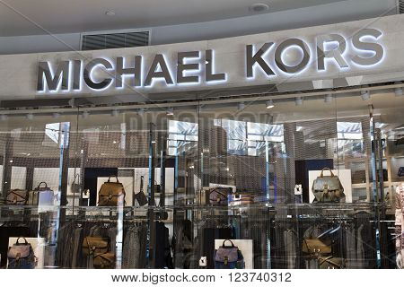 Indianapolis - Circa March 2016: Michael Kors Retail Store. Kors Offers Classic Clothing Handbags & Accessories II
