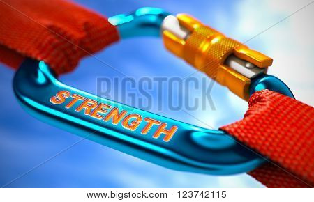 Red Ropes Connected by Blue Carabiner Hook with Text Strength. Selective Focus. 3D Render.
