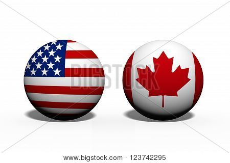 The United States of America and Canada working together Two globes with a flag of the United States and Canada isolated on white