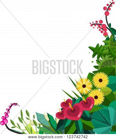 Vector flat colorful circular floral wreaths. Vector flat wreath with flowers. Save the date. Wedding invitation  Wreath made of plants and flowers. Greeting card or Invitation