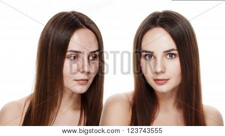 Beautiful young brunette model before and after make-up applying. Comparison portrait. Two faces of model girl face with and without makeup. Isolated on white. Space for text. Ideal for commercial