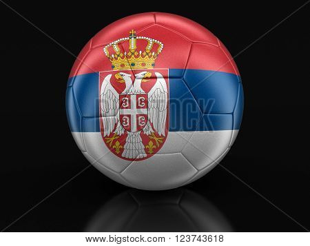 Soccer football with Serbian flag. Image with clipping path