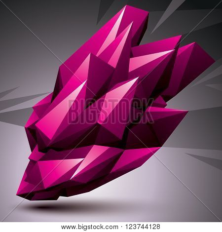 Asymmetric 3D Abstract Object, Bright Geometric Spatial Form. Render And Modeling.