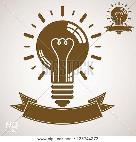 Electricity light bulb symbol insight emblem. Vector brain storm conceptual icon, corporate problem solution theme. Best idea award icon with curvy ribbon. Business idea graphic web design element.