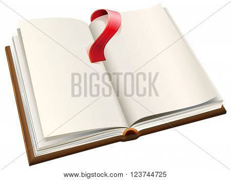Open book with red bookmark. Open book with blank pages. Isolated on white vector illustration