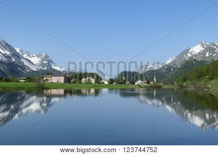 Spring on the lake in St. Moritz, Switzerland