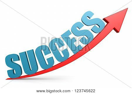 Word success on red arrow image with hi-res rendered artwork that could be used for any graphic design.
