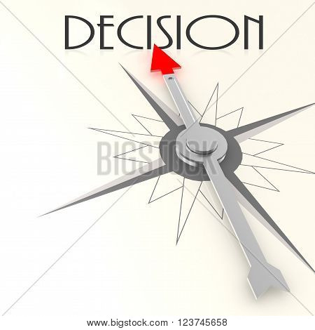 Compass with decision word image with hi-res rendered artwork that could be used for any graphic design.