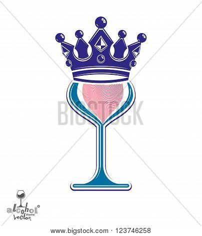 Sophisticated luxury wineglass with king crown graphic artistic vector goblet. Full glass of wine vector illustration. Party creative object.