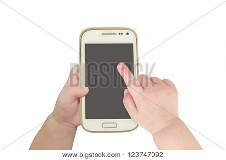 Baby hand touch on the screen of smart phone