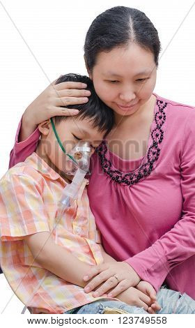 Asian Mother comforts her son between taking oxygen