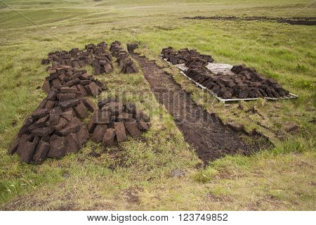 Peat cutting and stacking in the North of Scotland.