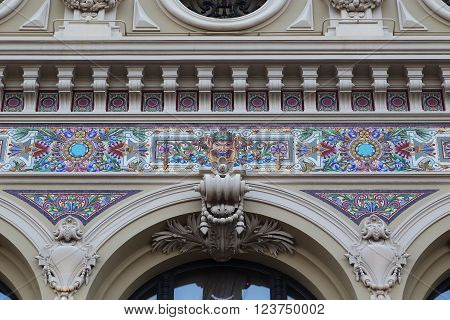 Monaco, Monaco - May 19: This fragment of exterior finishes Opera in Monte Carlo May 19, 2015 in Monaco, Monaco.