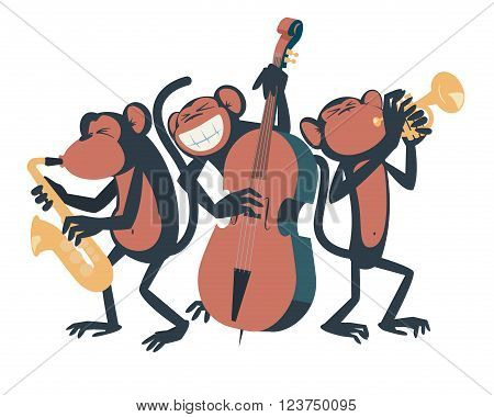Monkey jazz trio. Three monkeys playing jazz. One of them plays the saxophone, the other one plays the contrabass and the third one plays the trumpet.