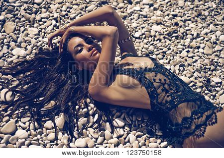 Sexy Lady At Beach