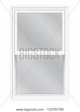 Double hung window vector isolated. Traditional English or American lifting slider window exterior view.