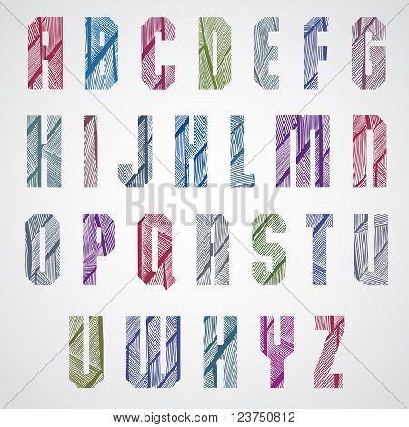 Pattern ornamental colorful font upper case letters.