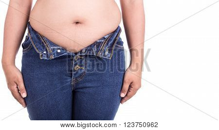 Close up fat woman trying to wear jeans : Fat and Healthy concept