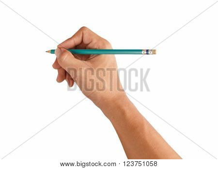 Man hold pencil on right hand, isolation on white background