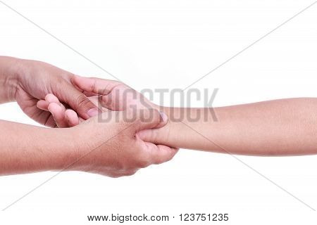 Close Up Woman's Hand Holding Children's Hand. Hand Pain Concept.