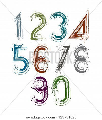 Handwritten vector numbers isolated on white background painted modern numbers set.