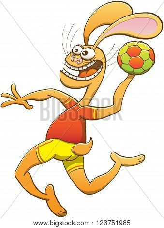 Brave yellow hare with long ears, slender body and wearing red shirt and yellow shorts while crossing its bulging eyes, shouting, holding a ball and preparing a jump shoot in a handball match