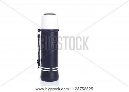 Close Up New Black Thermos Flask Isolated On White