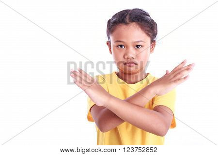 Portrait of young Asian girl isolated on white background : Angry concept
