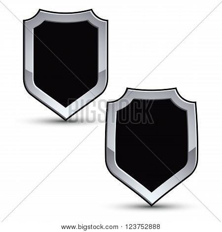 Set Of Heraldic Vector Black Emblem With Silver Outline, Two 3D Conceptual Defense Geometric Badges